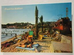 CP Espagne  Iles Baleares MALLORCA - La Plage  Avec Le Petit Train Tramway PUERTO SOLLER édit. Palma - Mallorca