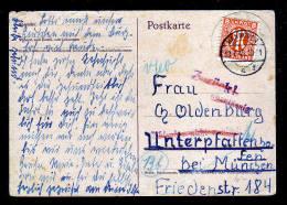 """1945 - 8 Pf. Auf Karte Ab Hannover - Stempel """"Zurück! Unzulässig"""", Wieder Gestrichen - Zone Anglo-Américaine"""