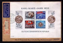 Karl Marx Block (9B) Auf Einschreib-Luftpost-Brief 1954 Ab Weiller über Bad Salzungen Nach Canada - [6] République Démocratique