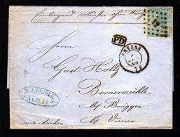 """1866 - 20 C. Auf Brief """"Muster Ohne Wert"""" Ab Anvers Nach Brüggen Bei Viersen - 1865-1866 Profil Gauche"""