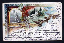 """10 L. Privat Ganzsache Mit Bild """"3 Eulen Mit Frauengesichtern""""  (Minerva) - Gebraucht 1903 Ab Athen - Hiboux & Chouettes"""