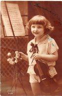 Enfant Tenant Un Violon..timbre Espagnol Au Dos  15cs Vert - Other