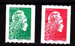 France 2018, Adhésifs Roulettes  LV Et Prio Avec Le Même N° Au Verso / Marianne L'engagée - Adhesive Stamps