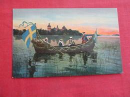 Men In Boat With 2 Flags    Ref 3039 - Sweden