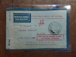 REGNO - Posta Prigionieri Di Guerra - Busta Inviata A Prigioniero Con Posta Aerea E Verifica Censura + Spese Postali - 1900-44 Vittorio Emanuele III