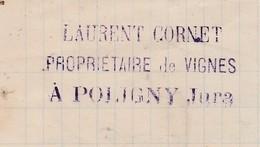 Courrier 1883 / Laurent CORNET / Propriétaire De Vignes / 39 Poligny Jura - France