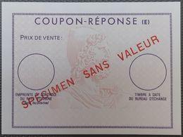 France Fictif, Cours D'instruction, Spécimen : Rare Coupon-réponse Sans Valeur Faciale. Superbe !! - Fictifs