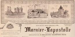 Facture MARNIER LAPOSTOLLE / Vins Alcool Champagne / 78 Neauphle Le Château / 16 Bourg Charente / 18 Sancerre - France