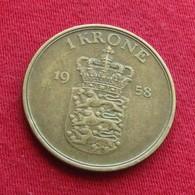 Denmark 1 Krone 1958 KM# 837.2  Dinamarca Danemark Danimarca - Denemarken