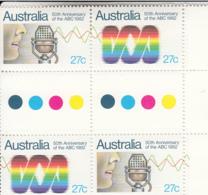 Australia 1982 MNH Scott #831a Gutter Block Of 4 27c Australian Broadcasting 50th Anniversary - 1980-89 Elizabeth II