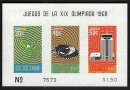 Mexico / Olympic Games Mexico City 1968 / Dove, Stadium, Building / Mi Bl 15 / MNH - Verano 1968: México