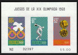 Mexico / Olympic Games Mexico City 1968 / Dove, Discus, Medals / Mi Bl 17 / MNH - Verano 1968: México