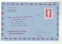 1990 FRANCE 1st Regiment Hussards PARACHUTISTES Cover BP 149 Tarbes To GB Parachuting Parachute Forces Paris Tri Armees - Parachutting