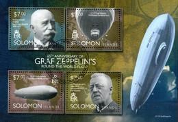 Solomon Islands  Block 85 Jahre Weltumrundung Zeppelin - Zeppeline