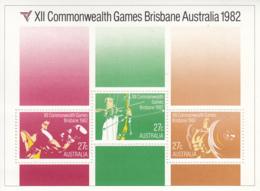 Australia 1982 MNH Scott #844a Souvenir Sheet Of 3 Archery, Boxing, Weightlifting Commonwealth Games - 1980-89 Elizabeth II