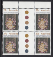 Australia 1982 MNH Scott #847 27c Moon Spirit Bark Painting Gutter Block Of 4 - 1980-89 Elizabeth II