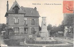 Cpa 61 Crulai , L'école Et Le Monument Aux Morts , écrite 1931 - France