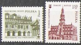 POLAND 1975 INTERNATIONAL HERITAGE PROTECTION YEAR NHM Zamosc Kazimierz Dolny Famous Architecture Towns - Organizations