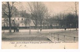 CPA Rare Dos Non Divisé : NAMUR Jardin Et Hospice D'Harscamp, Boulevard Isabelle Brunell, Voie Du Tram - Namur