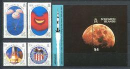 237 SALOMON 1989 - Yvert 678/81 BF 26 - Apollo Amerissage Embleme - Neuf **(MNH) Sans Trace De Charniere - Solomon Islands (1978-...)
