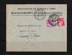 1933 Grenoble (Gaston Calvet) Manufacture De Balagues A Tabac → Lettre à Lausanne En Suisse - Frankreich