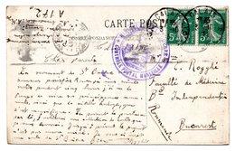Cachet CONTROLE POSTAL MARSEILLE Sur CV Expédiée De Calais Vers Bucarest (1915) - Marcophilie (Lettres)