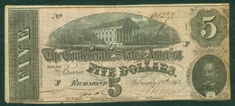USA 1864 Richmond 5 Dollars - Valuta Della Confederazione (1861-1864)