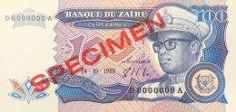 Zaire 100 Zaires, P-33s (14.10.88) - UNC - SPECIMEN - Zaire