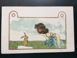 Art Nouveau - Raphael Kirchner Sign. Nini Hager - Girls With Animals - Rif. L.1 - 2 - Kirchner, Raphael
