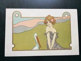 Art Nouveau - Raphael Kirchner Sign. Nini Hager - Girls With Animals - Rif. L.1 - 4 - Kirchner, Raphael