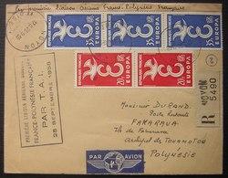 1958 Première Liaison Aérienne Directe Par T.A.I  France Polynésie Lettre Recommandée De Noyon ( Fakarava Touamotou) - Posta Aerea