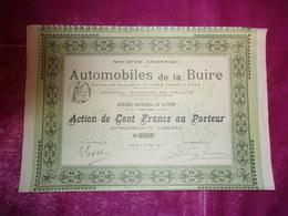 AUTOMOBILES DE LA BUIRE (1905) Lyon - Actions & Titres