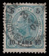 Francobolli Austriaci Soprastampati - 10/5 Pa Grigio Verdastro/nero - No.83 -1900 - Oriente Austriaco