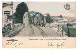 CPA Dos Non Divisé : NAMUR Passerelle Du Vicinal Au Confluent, Charrette Lanache Charles Près De L'école - Namur