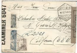 SPAIN BARCELONA CC CERTIFICADA AEREA A HOLLYWOOD 1943 CON DOBLE CENSURA MAT TRANSITOS Y LLEGADA - Lettres