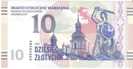 Poland - Warszawa - 10 Zlotych 2017 - Unc - Fantasy Banknote - Private Issue - Not A Legal Tender - Polonia