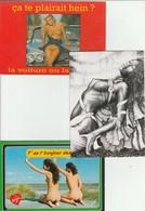 Lot 3 CPM Femmes Nues Seins Nus  1 Circulée 2000 - Humour