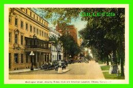 OTTAWA, ONTARIO - WELLINGTON STREET, SHOWING RIDEAU CLUB & AMERICAN LEGATION - ANIMATED WITH OLD CARS - PECO - - Ottawa