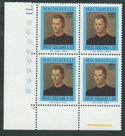 Italia 1969; Nicolò Machiavelli (1469-1527), Storico, Filosofo, Scrittore, Politico. Quartina D' Angolo Inferiore. - 1961-70: Mint/hinged