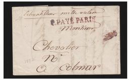 LETTRE EN PORT PAYE DE PARIS POUR COLMAR --1827 -- P.PAYE PARIS -- - Marcophilie (Lettres)
