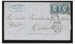 LETTRE  DE PARIS POUR MULHOUSE--1854 -- N°14 EN PAIRE -- TIMBRES TOUCHES--OBLITERATION ETOILE MUETTE -- - Marcophilie (Lettres)