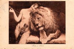 CPA Photo Gravure Forza E Amore - Force Et Amour Entre Un Lion Et Une Femme Nue Avec Des Flèches Circulée 1917/18 - Lions