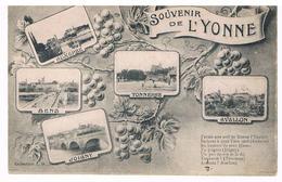 CPA :Souvenir De L'YONNE, Multivues Auxerre, Tonnerre, Avallon, Sens, Joigny - France