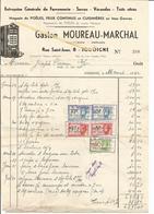 Facture Gaston MOUREAU-MARCHAL Serrurier Poëlier 1942 Feux Continus,cuisinières Vers Brasserie J Coenen JODOIGNE - Belgium