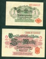 Germany 1918 - 1 Mark And 2 Mark - 2 Bills - [ 2] 1871-1918 : Duitse Rijk