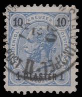 Francobolli Austriaci Soprastampati - 1/10 Pi/Kr Grigio Oltremare/nero - No.65 - 1890 - Oriente Austriaco