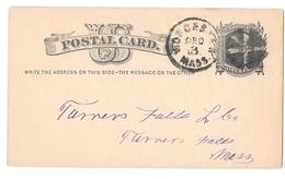 US Scott UX5 Worcester Mass 1878 Fancy Cork Cancel Wedges Postal Stationery Card - Postal History