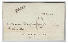LETTRE  DE PARIS POUR MONTPELLIER -- 1777 -- PARIS INFINI - Lettre Avec Correspondance Et Signature - 1701-1800: Précurseurs XVIII