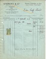 Facture STERCKX & Cie Anciennne Firme COENEN Denrées Coloniales Spa Monopole,vins,liqueurs,1927 Vers E Charlot JODOIGNE - Belgium