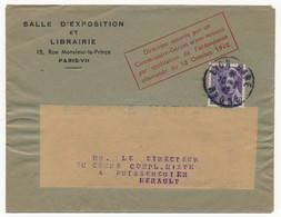 """Enveloppe Librairie Paris Affr 40c Mercure,Lyon 1942, Encadré Imprimé """"Direction Assurée Par Un Commissaire-Gérant Aryen - Guerre De 1939-45"""